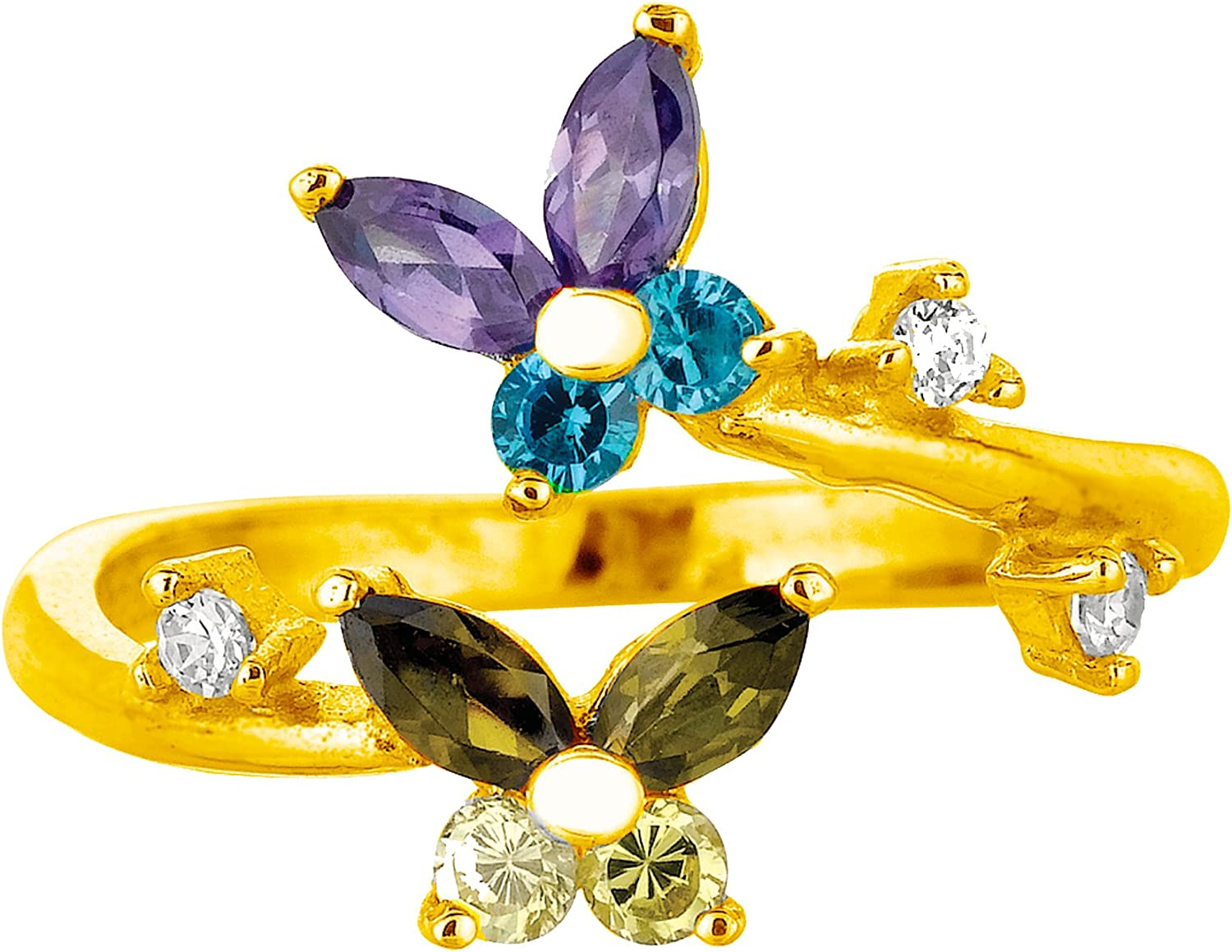 Ritastephens 10k Yellow Gold Multi-colored CZ Butterfly Ring Baltimore Mall 5 ☆ popular Toe