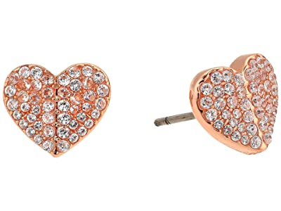 Kate Spade New York Heart To Heart Pave Small Heart Studs Earrings (Clear/Rose Gold) Earring