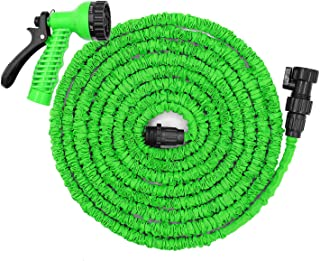 Jundy 50ft Water Hose, Expandable Garden Hose, Flexible Expanding Pressure Water Hose with 7 Functional Spray Nozzles, Double Layer Latex Core, Extra Strength Fabric,for Your Watering Needs(Green)