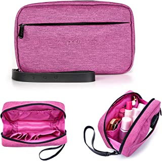 Patu Handy Beauty Stuff Carry Case, Makeup Cosmetic Bag, Women Facial Cleanser Skincare Kit Pouch, Pencil Clutch, Portable Electronics Accessories Organizer, Magenta