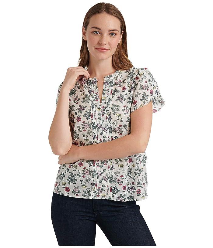 Lucky Brand  Tulip Sleeve Crew Neck Pin Tuck Top (Multi) Womens Clothing