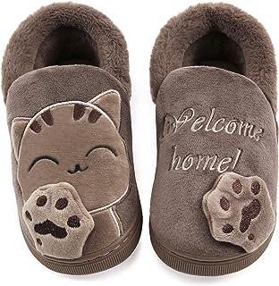 Vunavueya Hiver Chausson pour Enfants et Adultes Garçon Fille Peluche Pantoufle Hiver Chaussures de Maison Femmes Hommes C...