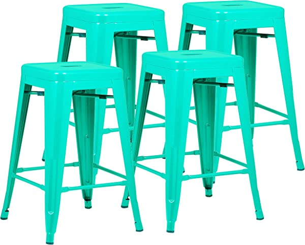 Poly And Bark Trattoria 24 Counter Height Stool In Aqua Set Of 4