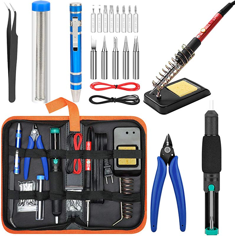 Soldering Iron Kit Electronics Upgraded Yome 15 In 1 60w Adjustable Temperature Soldering Iron With ON OFF Switch 5pcs Soldering Iron Tips DE Soldering Pump Wire Cutters Screwdriver Stand
