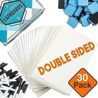 "Dry Erase Boards [30pc Classroom Pack] w/ClearWipe Coating! Mini Lapboards +30 Bonus Whiteboard Markers +Felt Erasers ? 9""..."