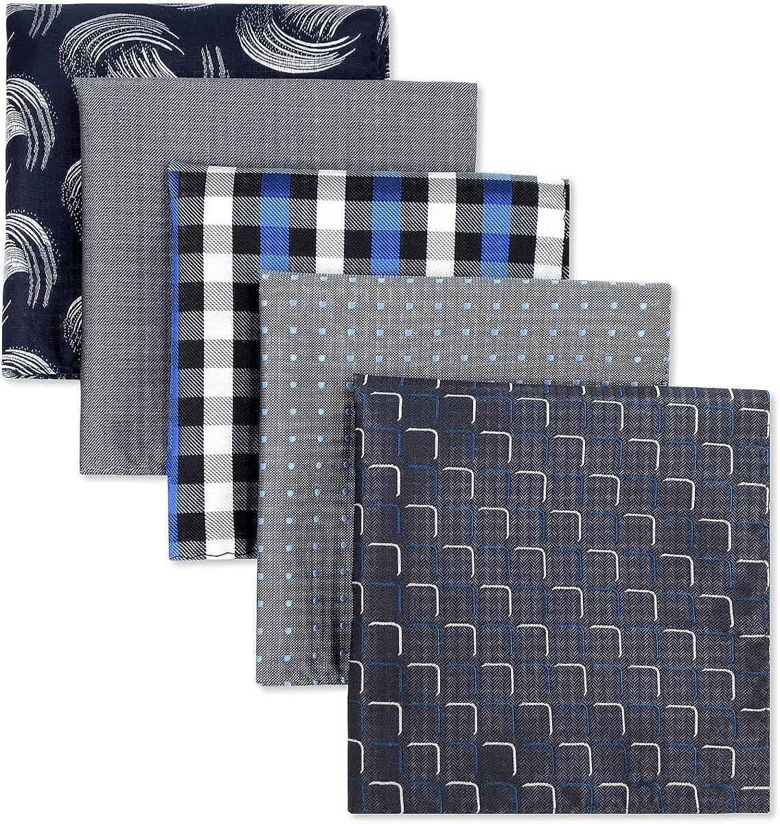 SHLAX&WING 5 Pieces Assorted Mens Silk Pocket Square Handkerchiefs Set Lot