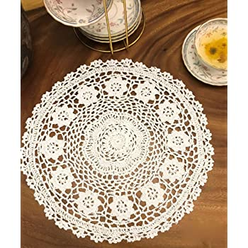 Janef White Handmade Crochet Doilies Cotton Table mats Lace Doilies Doily Round Lace Placemats Crochet Placemat 12 Inches 2pc
