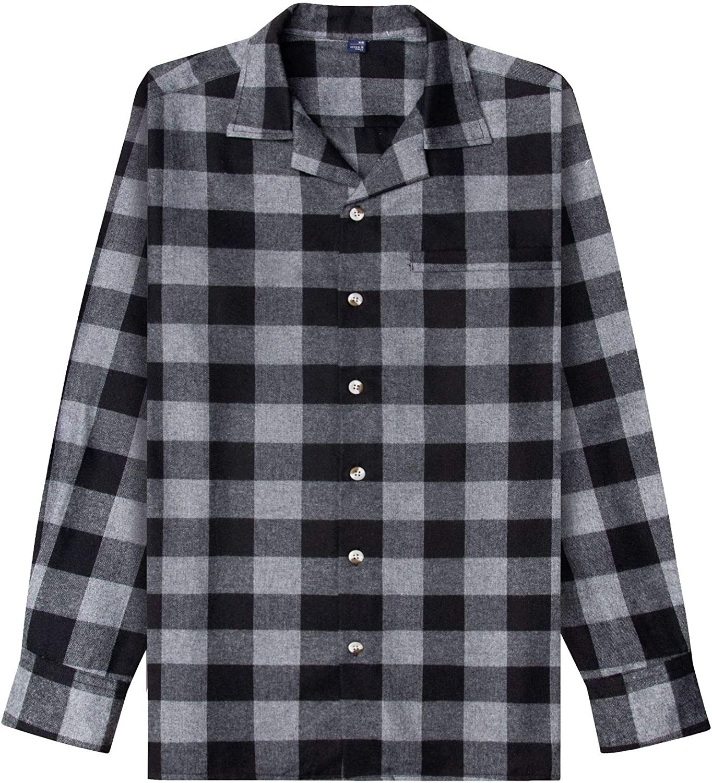 Alimens & Gentle Men's Heavyweight Flannel Plaid Pajama Pants 100% Cotton Sleep Lounge Pant