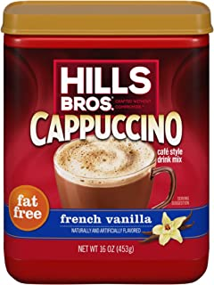 Hills Bros. Instant Cappuccino Mix, Fat Free French Vanilla Cappuccino Mix – Enjoy Coffeehouse Flavor from Home – Fat-Free...