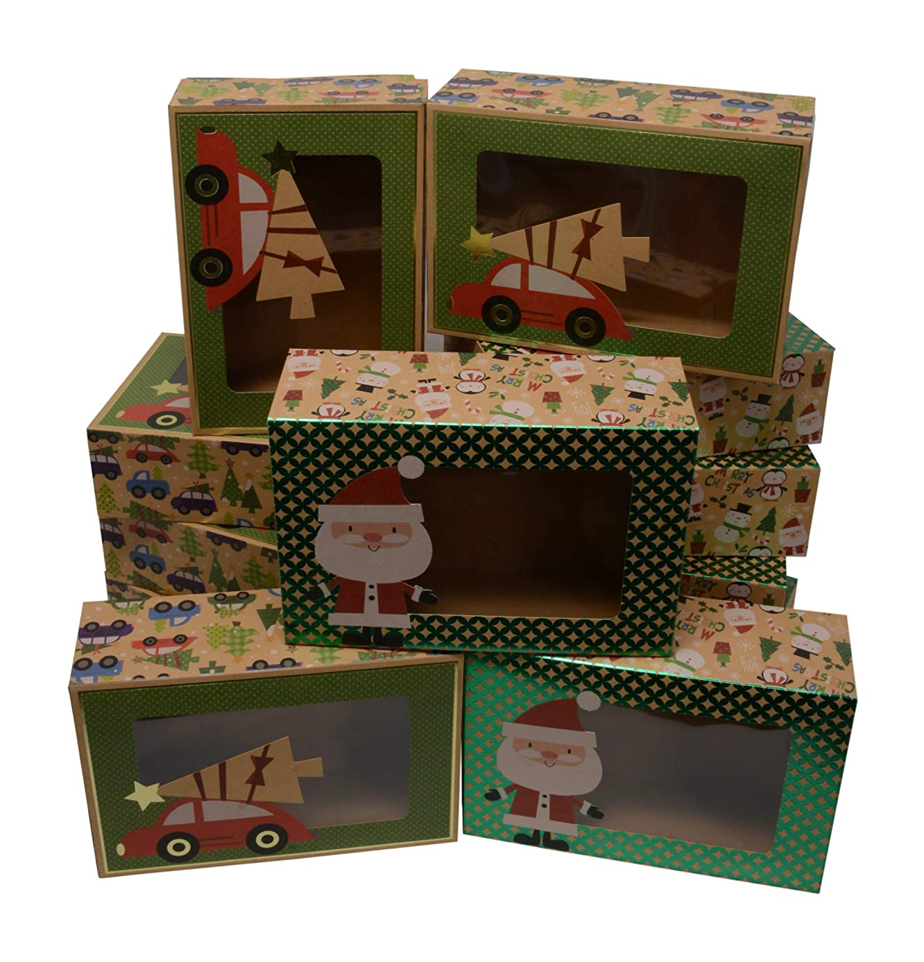 Christmas Doughnut and Cookie gift boxes; rectangle with clear window; brown kraft with hot stamp Christmas designs; 6 of each print; set of 12 boxes (8.6