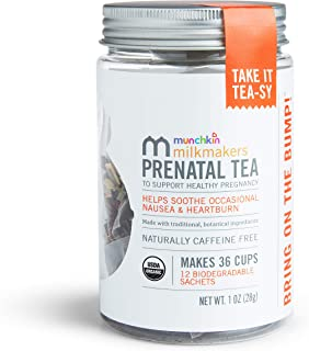 Munchkin Milkmakers Organic Prenatal Tea for Morning Sickness & Nausea Relief, With Ginger & Red Raspberry Leaf, 12Count
