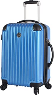Lucas Outlander 20 Inch Carry On Luggage Collection -Expandable Scratch Resistant (ABS + PC) Hardside Suitcase- Lightweight Durable Checked Bag With 4-Rolling Spinner Wheels (20in, Blue)