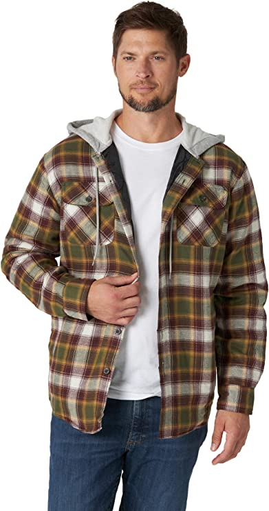90s Outfits for Guys | Trendy, Party, Cool, Casaul Wrangler Authentics Mens Long Sleeve Quilted Lined Flannel Shirt Jacket with Hood  AT vintagedancer.com