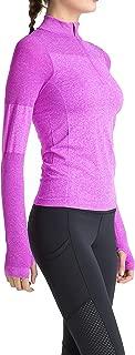 Women Running Shirts Long Sleeve Yoga Jacket Lightweight Half Zip Pullover Athletic