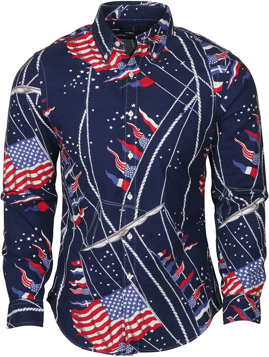Polo RL Men's Big and Tall USA Flag Classic Fit Button Down Shirt