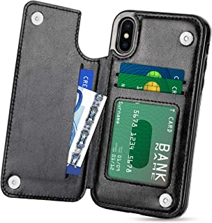 HianDier Wallet Case for iPhone Xs MAX, Slim Protective Case with Credit Card Slot Holder Flip Folio Soft PU Leather Magnetic Closure Cover Case Compatible with iPhone Xs MAX 6.5 inches (2018), Black