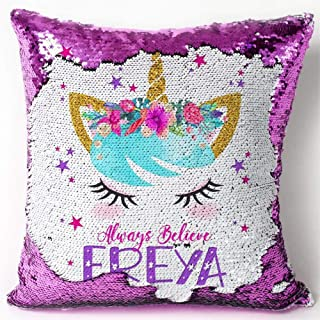 SUUYOO Unicorn Pillow Case, Magic Reversible Sequin Pillow Cover Mermaid Pillow Cover Throw Cushion Case Decorative Pillowcase (Unicorn-Purple Sequins)