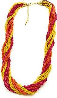 DCA Orange, Pink & Yellow Glass Women Necklace (4061)