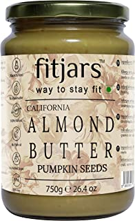 FITJARS Stone Ground Keto Vegan All Natural Gourmet Almond Pumpkin Seeds Butter , 750 ge