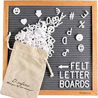 Exforces Gray Felt Letter Board, 12'' x 12'' Oak Wooden Frame Message Board with Tripod Stand and Canvas Bag, Large Wall Mount Changeable Letter Boards with 510 White Letters, Numbers and Emoji