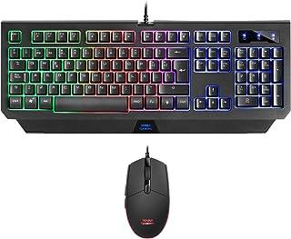Mars Gaming MCP100, Set Tastiera H-Mech e Mouse 3200 DPI, illuminazione RGB, Spagnolo
