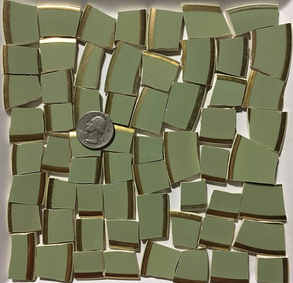 Mosaic Art & Craft Supply ~ Vintage Sage Green w/Gold Rim Tiles (B133)