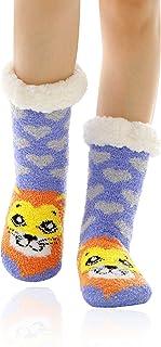 Mujer gruesos cachemira lana calcetines de piso, casa abrigados calcetines, antideslizantes cómodos cálidos lindos animales calcetines borrosos regalo de Navidad zapatillas calcetines