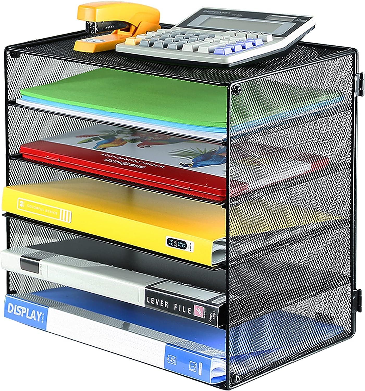 DALTACK 5 Tier National products Paper Organizer Letter Superlatite Mesh Tray File Desk Metal