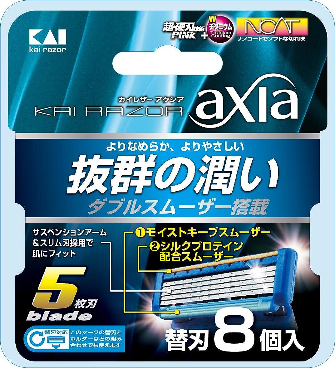 グレートオーク困難チューリップKAI RAZOR axia(カイ レザー アクシア)5枚刃 替刃 8個入