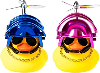 Kaqkiasiog 2 Pcs Rubber Duck Toy Car Ornaments Yellow Duck Car Dashboard Decorations with Take-Copter Helmet for Adults, K...