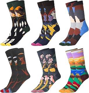 Wodasi, Estampados Hombres Ocasionales Calcetines, 6 Pares de Calcetines Estampados Colores Hombres Mujeres Termicos Invierno Divertidos Calcetín de Algodón Unisex, 37-43