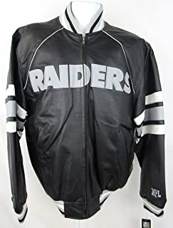 Oakland Raiders Mens Size Medium Full Zip Embroidered Leather Jacket ARAD 166 A1 1168