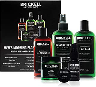 Brickell Men's Morning Face Care Routine II, Purifying Charcoal Face Wash, Alcohol Free Toner, Face Scrub, Eye Cream, Day Serum and Daily Face Moisturizer, Natural and Organic, Scented