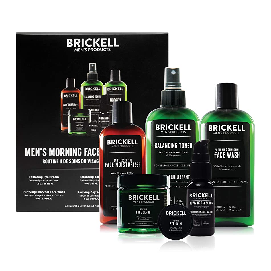 Brickell Men's Products Morning Face Care Routine II- Purifying Charcoal Face Wash, Alcohol Free Toner, Face Scrub, Eye Cream, Day Serum & Daily Face Moisturizer- Natural and Organic - Scented