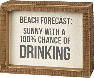 Primitives by Kathy Inset Box Sign - Beach Forecast: Sunny 100% Chance of Drinking
