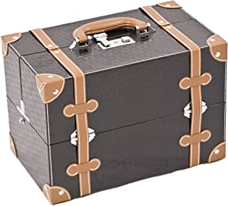 Sunrise C3019PVBK Professional Makeup Cosmetic Train Case Organizer Craft Storage with 4 Trays and Divider Square, 1-Count