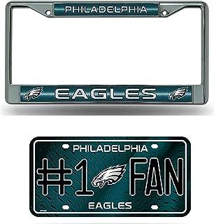 Rico Philadelphia Eagles NFL Glitter Bling Chrome License Plate Frame & Eagles Number One Fan License Plate