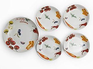 Gibson Ceramic Dinnerware Set 5 Pieces, Multi Color