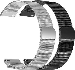 ECSEM ミラネーゼループバンド 互換性のあるぺブル(幅22mmストラップ)腕時計バンド 22mm 交換用ステンレススチールマグネットロックメタルバンド アクセサリー リストバンド Pebble Time/Time Steel/2/2 SE用