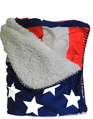 Authentic Goods Micromink Sherpa Throw Blanket Patriotic American Flag USA 50