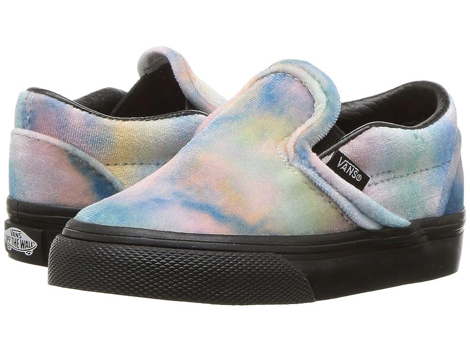 Vans Kids Classic Slip-On (Toddler) ((Velvet Tie-Dye) Multi/Black) Girls Shoes