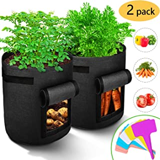 RICHOOSE 2-Pack 7 Gallons Grow Bags Breathable Nonwovens Fabric Pots Potato Planter Bag, with Visual Window and Handles Design, Equipped with10 pcs Plant Labels(Black)