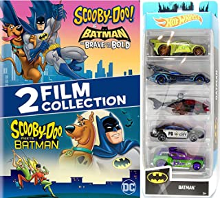 Bat Hero Saves The Day! Batman & Scooby-Doo! Cartoon Brave and the Bold caped crusader & Mystery gang + Hot Wheels 5-Pack Batmobile Heroes & Villains cars