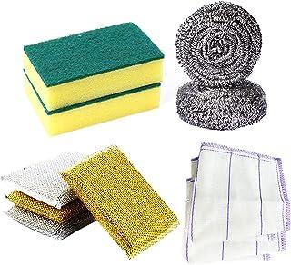Tenta Kitchen 10pcs Household Cleaning Supplies Set Microfiber Kitchen Dish Heavy Duty Scrub Sponge Set Dishwashing Sponge...
