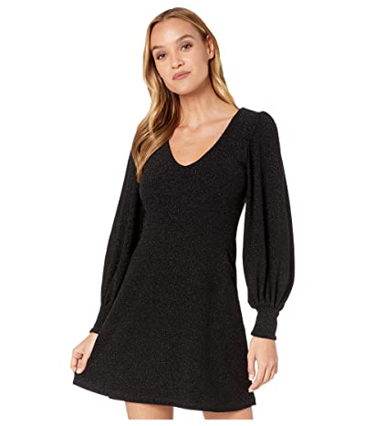 Susana Monaco V-Neck Poet Sleeve Dress (Black) Women