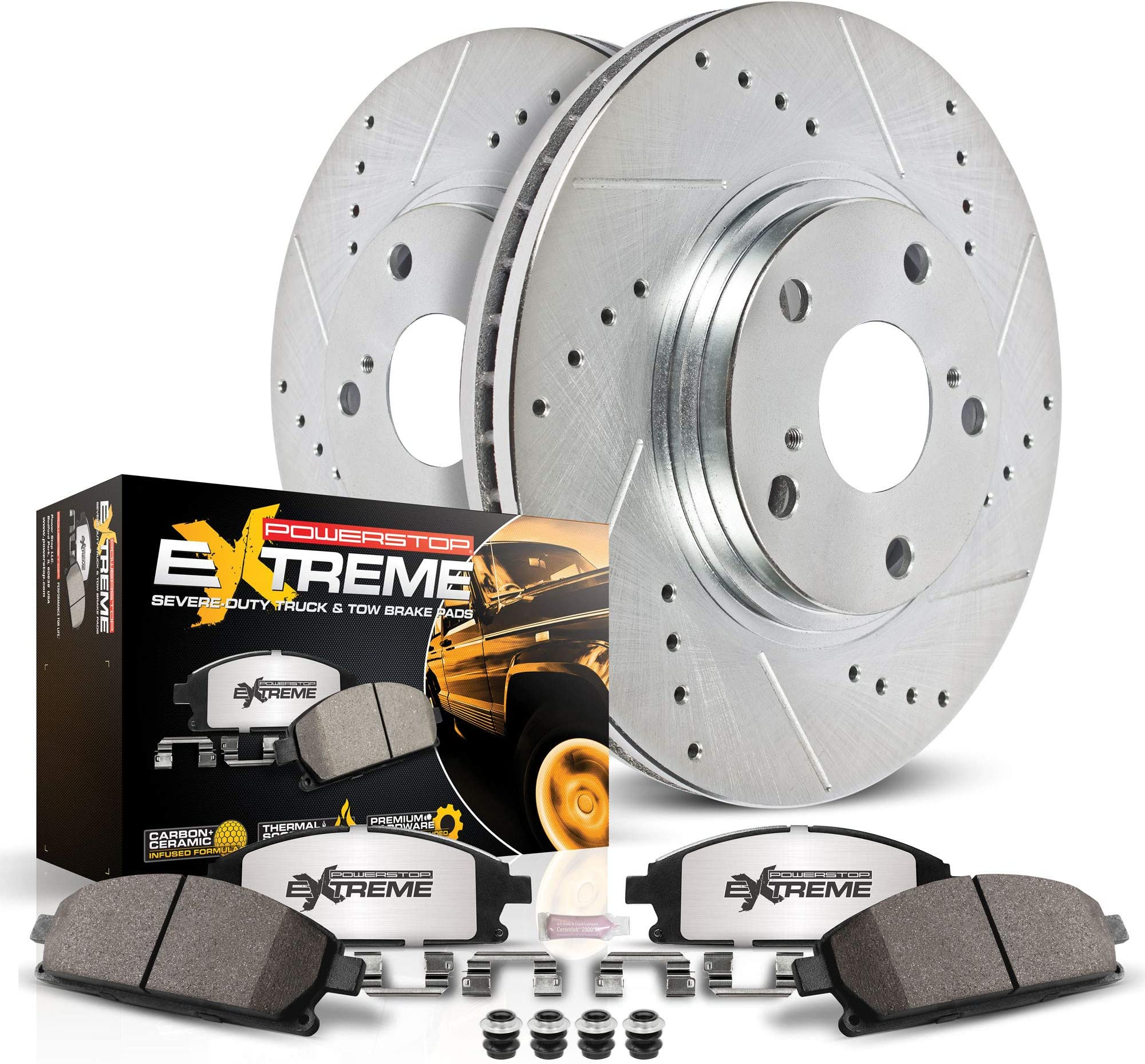 Power Stop K4713-36 Front Z36 Truck & Tow Brake Kit, Carbon Fiber Ceramic Brake Pads and Drilled/Slotted Brake Rotors