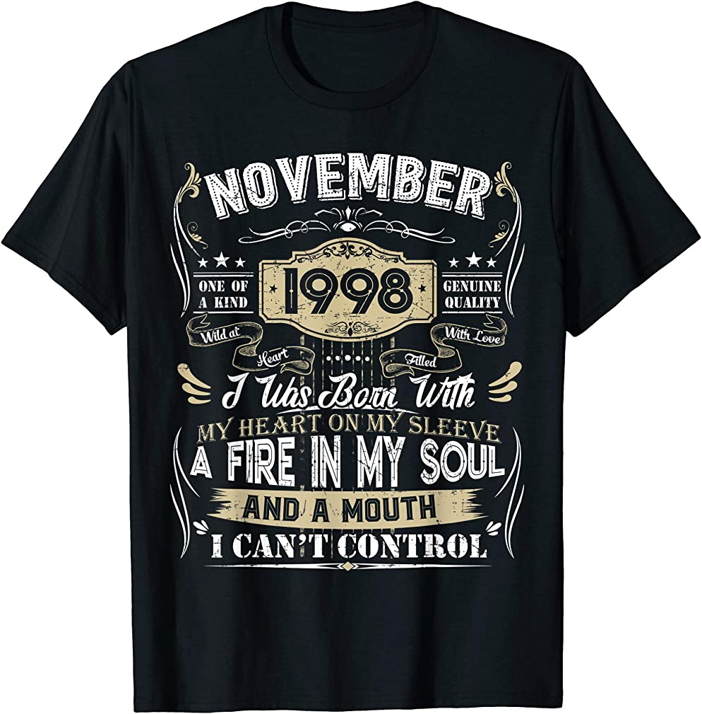 Classic 22nd Birthday Gift 22 Year Old Vintage November 1998 T-shirt
