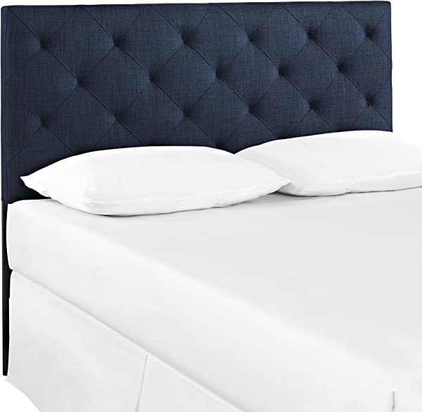 Modway Theodore Tufted Diamond Pattern Linen Fabric Upholstered Full Headboard In Navy