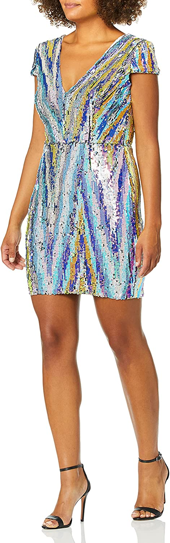 Dress the Population Women's Zoe Plunging Sequin Mini Dress, Opal Multi, xs