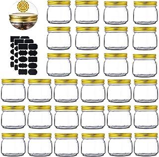 Mason Jars 8 oz 30 Pack- Small Mason Jars With Gold Lids -1/4 Quart Canning Jars  Storage Pickling Jars For Jelly, Jam, Ho...